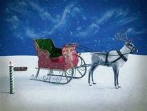 rappresentazione 3D di un segno e di una renna del polo nord con la slitta fotografia stock