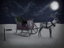 rappresentazione 3D di un segno e di una renna del polo nord con la slitta alla notte fotografia stock libera da diritti