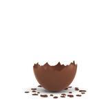 rappresentazione 3d di un uovo di cioccolato vuoto incrinato a metà su fondo bianco Fotografie Stock