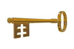 rappresentazione 3D di una chiave d'annata dorata fotografia stock