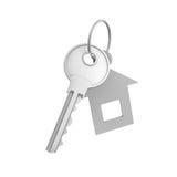 rappresentazione 3d di una chiave d'argento singola con l'etichetta isolata su fondo bianco Immagini Stock