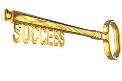 rappresentazione 3D di una chiave dorata d'annata con successo su bianco fotografia stock libera da diritti