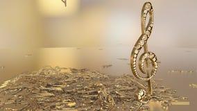 rappresentazione 3D di una chiave tripla musicale e delle note di caduta Immagine Stock Libera da Diritti