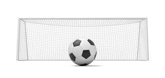 rappresentazione 3d di una palla diritta di calcio in bianco e nero davanti ai portoni vuoti illustrazione vettoriale