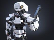 rappresentazione 3D di una pistola futuristica della tenuta del poliziotto del robot royalty illustrazione gratis