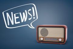 rappresentazione 3d di una radio retro marrone con sopra un fondo blu e un fumetto con una parola NOTIZIE dentro di  Fotografia Stock