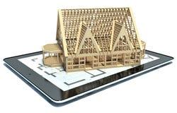 rappresentazione 3D di uno Smart Phone con una casa Fotografia Stock Libera da Diritti