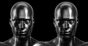 rappresentazione 3d Due hanno sfaccettato le teste nere di androide che sembrano anteriori sulla macchina fotografica Immagini Stock Libere da Diritti