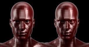 rappresentazione 3d Due hanno sfaccettato le teste rosse di androide che sembrano anteriori sulla macchina fotografica Fotografie Stock Libere da Diritti