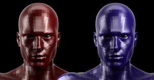 rappresentazione 3d Due hanno sfaccettato le teste rosse e blu di androide che sembrano anteriori sulla macchina fotografica Fotografie Stock Libere da Diritti
