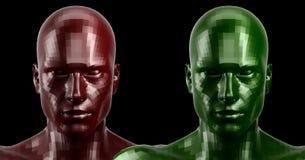 rappresentazione 3d Due hanno sfaccettato le teste rosse e verdi di androide che sembrano anteriori sulla macchina fotografica Immagine Stock
