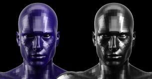 rappresentazione 3d Due neri ed il blu hanno sfaccettato le teste di androide che sembrano anteriori sulla macchina fotografica Fotografia Stock