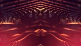 rappresentazione 3d, fondo della fantascienza delle particelle d'ardore con profondità di campo e bokeh Linea della forma delle p illustrazione di stock