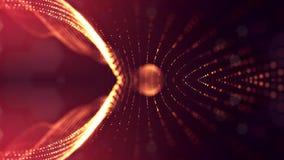 rappresentazione 3d, fondo della fantascienza delle particelle d'ardore con profondità di campo e bokeh Linea della forma delle p Immagine Stock