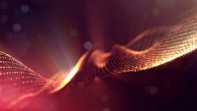 rappresentazione 3d, fondo della fantascienza delle particelle d'ardore con profondità di campo e bokeh Linea della forma delle p illustrazione vettoriale
