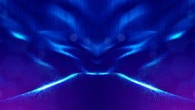 rappresentazione 3d, fondo della fantascienza delle particelle d'ardore con profondità di campo e bokeh Linea della forma delle p Fotografie Stock