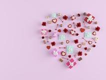 rappresentazione 3d forma di un cuore con i lotti dei presente Rosa rossa Immagini Stock Libere da Diritti