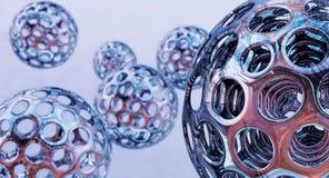 rappresentazione 3d Forme sferiche del metallo Immagini Stock