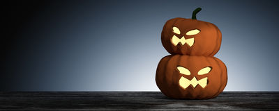 rappresentazione 3D: Halloween dirige la zucca della presa-o-lanterna sul pavimento di legno con il fondo leggero di goccia Conce illustrazione vettoriale