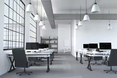 rappresentazione 3D: illustrazione del desktop creativo interno moderno dell'ufficio del progettista con il computer del PC labor Fotografia Stock Libera da Diritti