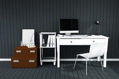 rappresentazione 3D: illustrazione del desktop creativo interno moderno dell'ufficio del progettista con il computer del PC posto Fotografia Stock Libera da Diritti