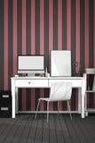 rappresentazione 3D: illustrazione del desktop creativo interno moderno dell'ufficio del progettista con il computer del PC posto Fotografia Stock