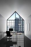 rappresentazione 3D: illustrazione dell'ufficio bianco interno moderno del desktop creativo del progettista con il computer del P Immagine Stock