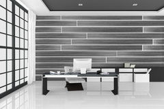 rappresentazione 3D: illustrazione dell'ufficio interno moderno bianco del desktop creativo del progettista con il computer del P Immagini Stock
