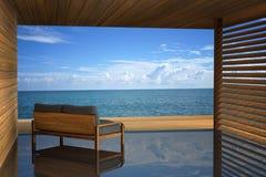 rappresentazione 3D: illustrazione della decorazione interna del sofà di legno moderno a stile di legno all'aperto della stanza d illustrazione vettoriale
