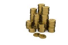 rappresentazione 3D: illustrazione delle pile della moneta di oro su un fondo bianco Immagini Stock