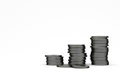 rappresentazione 3D: illustrazione delle pile della moneta su un fondo bianco Immagini Stock