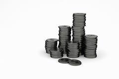 rappresentazione 3D: illustrazione delle pile della moneta su un fondo bianco Fotografia Stock