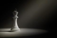 rappresentazione 3D: Illustrazione di scacchi bianchi di re in una stanza molto scura con goccia della pittura della luce del sol illustrazione di stock