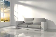 rappresentazione 3D: illustrazione di stanza interna della sensibilità bianca di minimalismo con la mobilia di cuoio moderna del  Immagini Stock Libere da Diritti