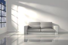 rappresentazione 3D: illustrazione di stanza interna della sensibilità bianca di minimalismo con la mobilia di cuoio moderna del  Fotografia Stock Libera da Diritti