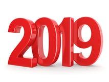 rappresentazione 3D le cifre rosse da 2019 nuovi anni illustrazione vettoriale