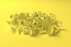rappresentazione 3d Le parole chiavi del carattere alfabetico si appannano Per progettazione grafica o fondo, tipografia del cgi illustrazione di stock
