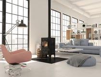 rappresentazione 3d salone con il camino del ghisa in appartamento moderno del sottotetto Immagini Stock Libere da Diritti