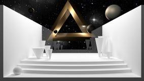 rappresentazione 3d, scena astratta con le forme geometriche e viste dello spazio royalty illustrazione gratis
