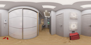 Rappresentazione dei 360 gradi, corridoio senza cuciture di panorama Fotografia Stock