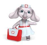 Rappresentazione del carattere 3d dell'elefante dell'infermiere Fotografia Stock Libera da Diritti