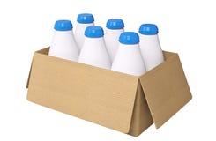 Rappresentazione del contenitore di cartone e delle bottiglie per il latte 3d Immagine Stock