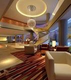 rappresentazione del corridoio dell'hotel 3d Immagini Stock