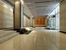 rappresentazione del corridoio dell'hotel 3d Fotografia Stock Libera da Diritti
