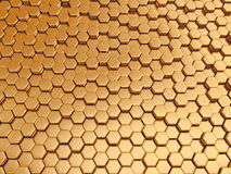Rappresentazione del fondo nano dell'oro metallico astratto Immagini Stock Libere da Diritti