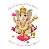 Rappresentazione del fumetto del dio orientale Ganesha, con il mantra Immagini Stock