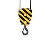 Rappresentazione del gancio a strisce giallo e nero, isolata su fondo bianco Fotografie Stock