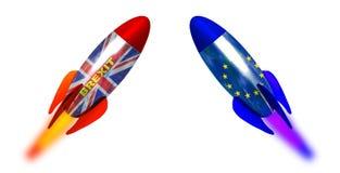 Rappresentazione del lancio 3d del razzo dell'Unione Europea del Regno Unito Inghilterra delle bandiere di Brexit fotografia stock libera da diritti