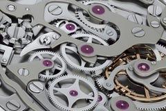 Rappresentazione del macchinario 3D dell'orologio con la vista del primo piano degli ingranaggi Fotografie Stock Libere da Diritti
