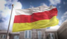 Rappresentazione del nord della bandiera 3D di Ossetia-Alania sul cielo blu che costruisce indietro Fotografia Stock